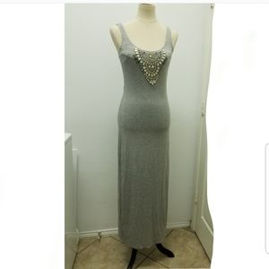 Bebe Beaded Maxi Gray Dress